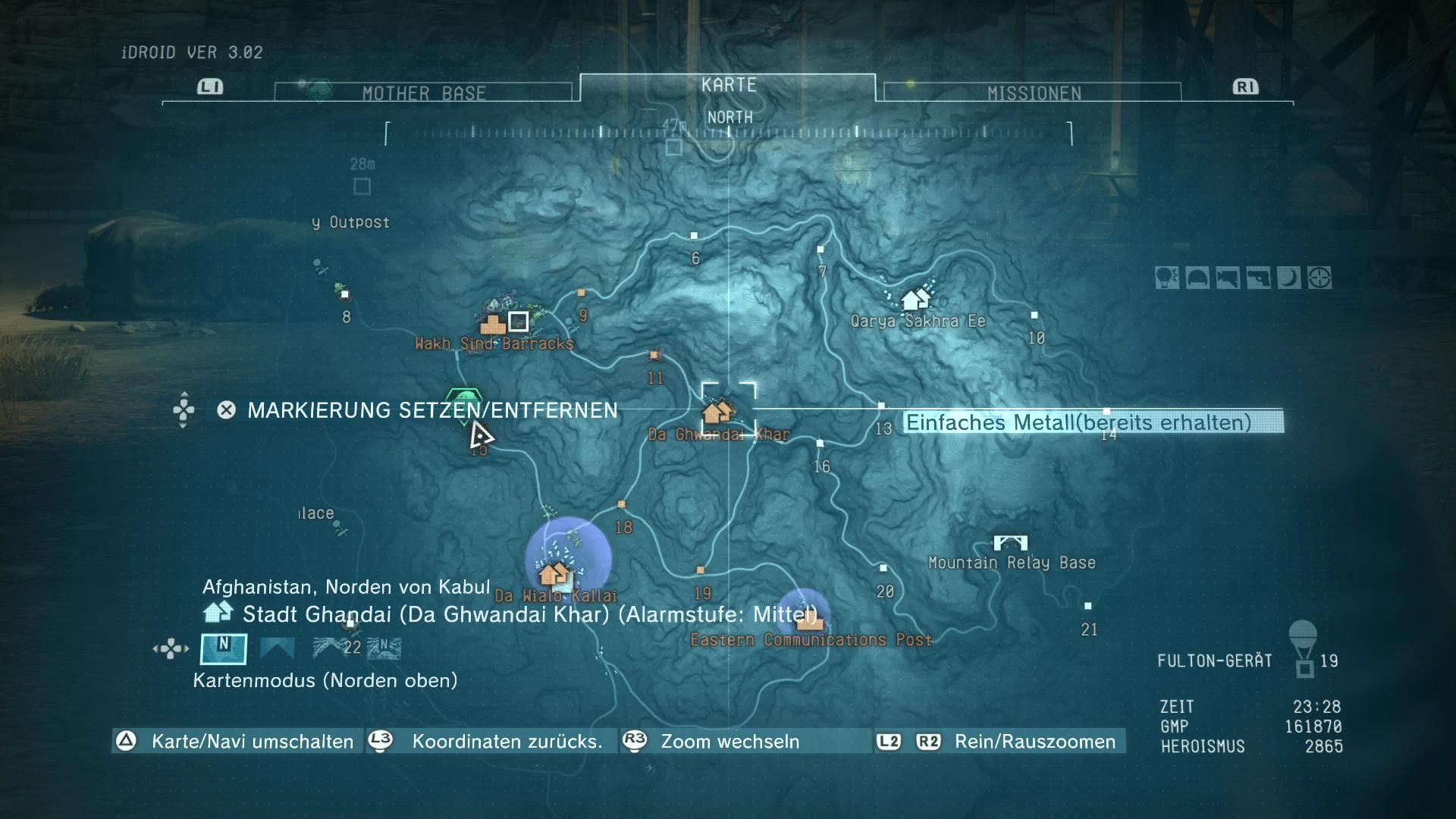Metal Gear Solid 5 im Test: Schleichen am Rande der Weltgeschichte - Auf der Karte sind Einsatzorte und feindliche Stellungen markiert. (Screenshot: Golem.de)