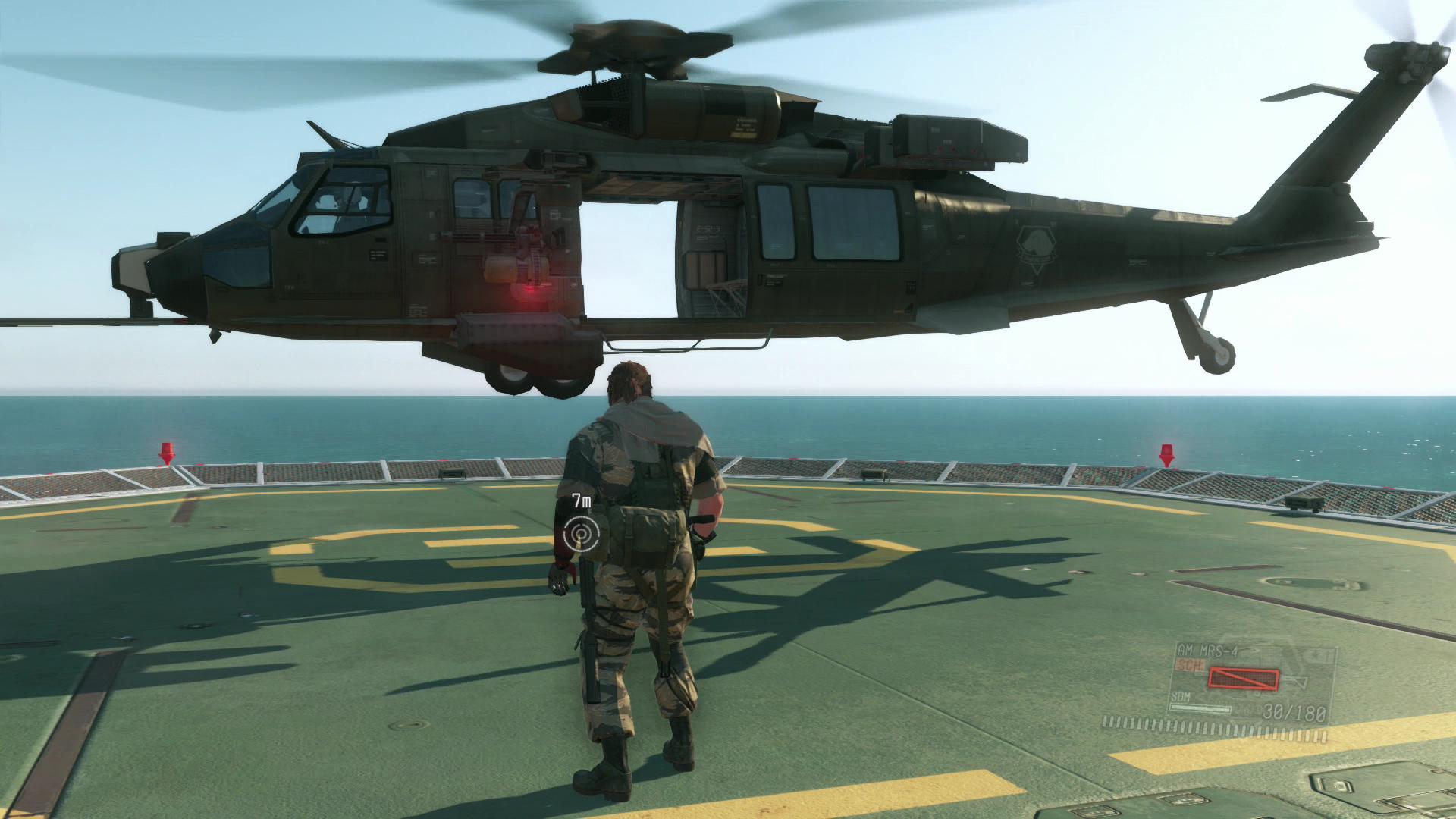 Metal Gear Solid 5 im Test: Schleichen am Rande der Weltgeschichte - Per Helikopter gelangt Snake von Mother Base zu den Missionen. (Screenshot: Golem.de)