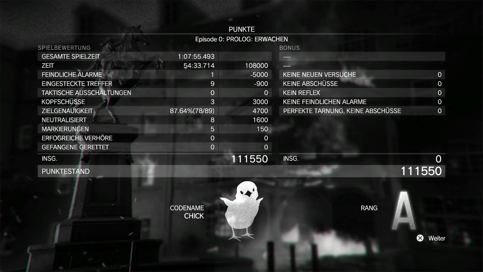 Metal Gear Solid 5 im Test: Schleichen am Rande der Weltgeschichte - Nach den Hautpmissionen vergibt das Programm Punkte und eine Wertung. (Screenshot: Golem.de)
