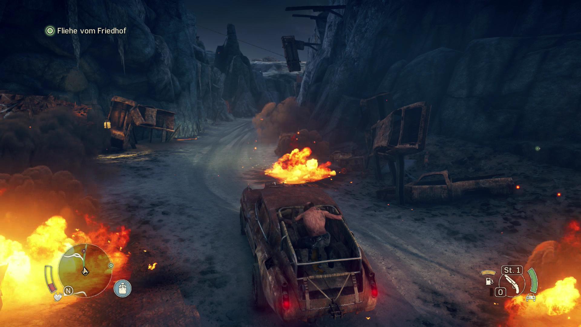 Mad Max im Test: Sandbox voll mit schönem Schrott - Immer wieder gibt es schicke Feuer- und Flammeneffekte zu sehen. (Screenshot: Golem.de)