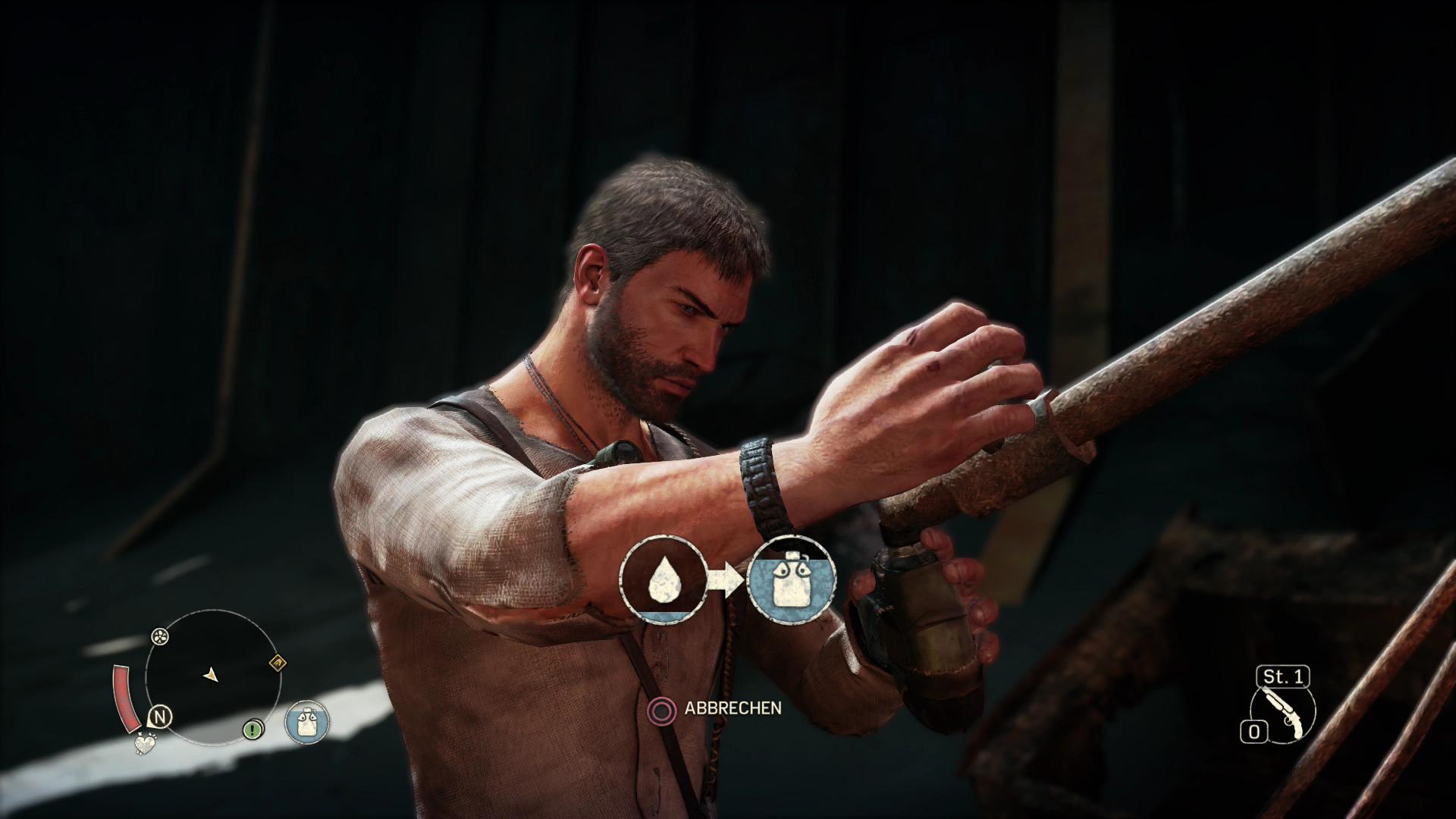 Mad Max im Test: Sandbox voll mit schönem Schrott - Statt mit Medipacks frischt Max seine Gesundheit mit Wasser auf. (Screenshot: Golem.de)