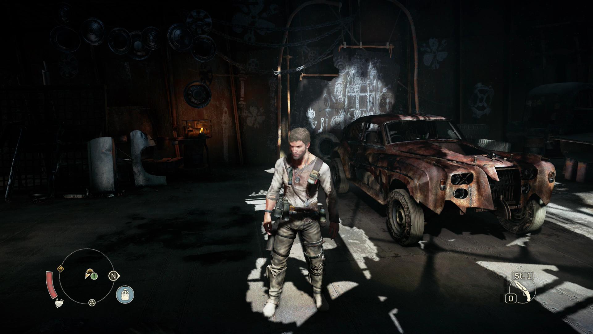 Mad Max im Test: Sandbox voll mit schönem Schrott - In der Werkstatt von Chum herrscht organisiertes Chaos. (Screenshot: Golem.de)