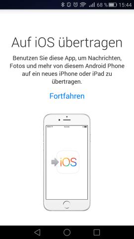 Der Startbildschirm von Move to iOS auf einem Android-Smartphone (Screenshot: Golem.de)