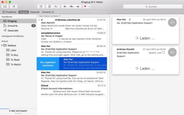 Mail-App mit Gesten (Bild: Golem.de)