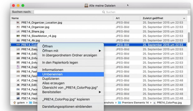 Finder-Umbenennungsfunktion in OS X 10.11 El Capitan (Bild: Golem.de)
