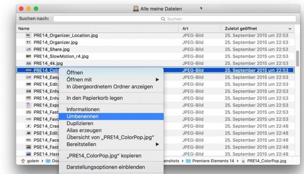 Finder-Umbenennungsfunktion in OS X 10.11 El Capitan (Bild: Golem.de)