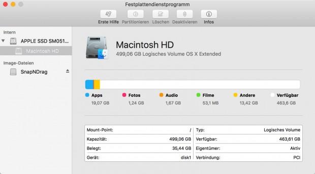 Das Festplattendienstprogramm wurde leicht überarbeitet. (Bild: Golem.de)