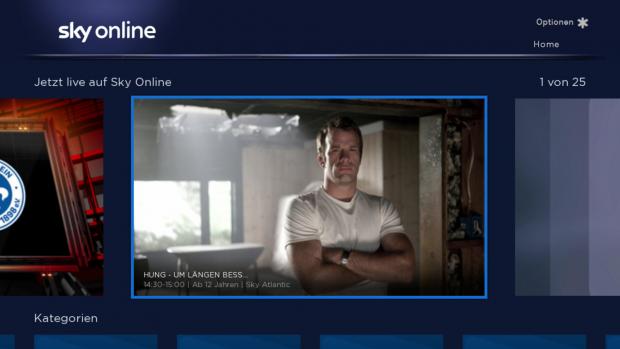 Der Hauptbildschirm der Sky Online App (Screenshot: Golem.de)
