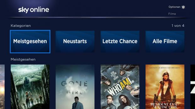 Der Hauptbildschirm der Sky Online App mit Rubriken (Screenshot: Golem.de)