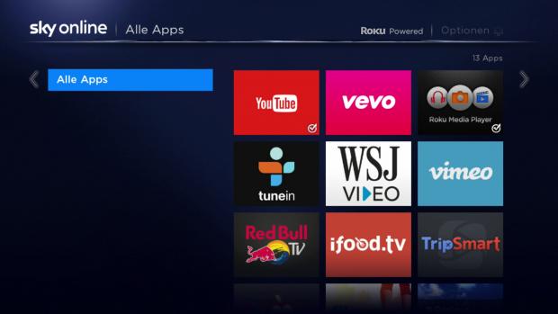 Es gibt nur sehr wenige Apps für die Sky Online TV Box. (Screenshot: Golem.de)
