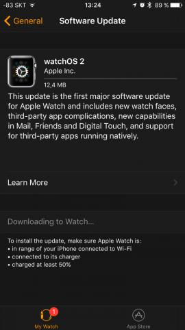 Im Unterschied zu iOS-Geräten wird für das OTA-Update für Watch OS ein iPhone benötigt. (Screenshot: Golem.de)