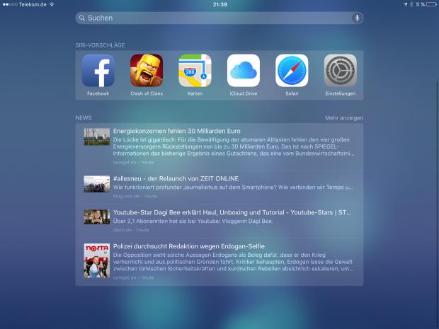 Praktisch ist die neue Suche, die auch Nachrichten anzeigt und häufig sowie zuletzt verwendete Apps. (Screenshot: Golem.de)