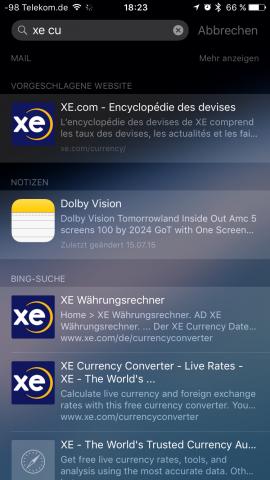 Die installierte Umrechnungs-App XE Currency wird unter iOS 9 nicht mehr gefunden. Mit iOS 8 genügte noch die Eingabe der Zeichenkette XE. (Screenshot: Golem.de)