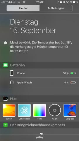 Neuerdings kann sich der Anwender die Akkukapazität von Wearables direkt anzeigen lassen. (Screenshot: Golem.de)