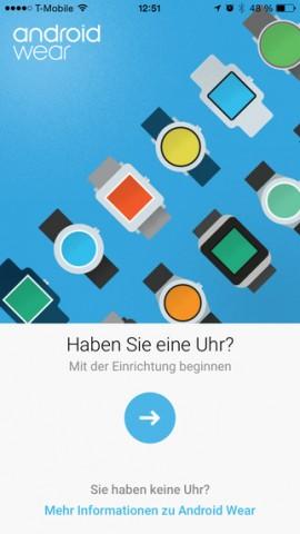 iOS-App für Android Wear (Bild: Google)