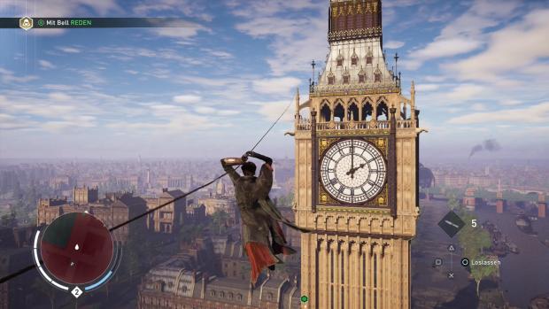 Mit dem Enterhaken arbeiten wir uns zu Big Ben vor. (Screenshot: Golem.de)