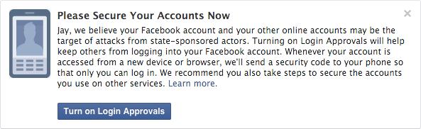 Mit dieser Anzeige will Facebook Nutzer künftig vor staatlichen Hackerangriffen warnen. (Bild: Facebook)