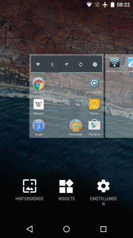 Widgets werden in Android 6.0 wieder über ein Kontextmenü aufgerufen. (Screenshot: Golem.de)