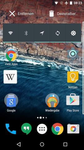 Apps lassen sich direkt vom Android-Startbildschirm aus deinstallieren. (Screenshot: Golem.de)