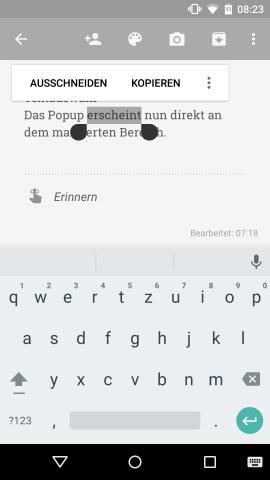Ein neues Pop-up bei der Selektion von Texten zeigt nur noch zwei Befehle. (Screenshot: Golem.de)