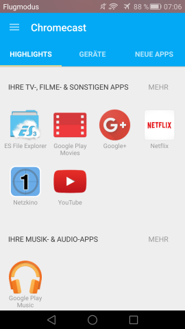 Neue Chromecast-App (Screenshot: Golem.de)