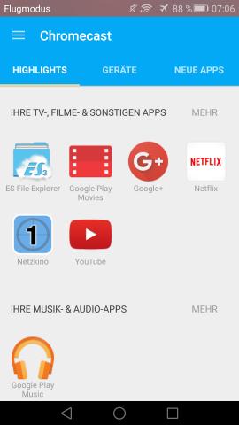 Neue Chromecast-App (Screenshot: Golem.de)