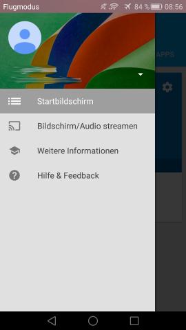 Im Seitenmenü kann das Audiostreaming für alle Apps aktiviert werden. (Screenshot: Golem.de)