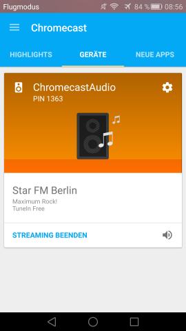 Die Chromecast-App zeigt an, welche Inhalte im Gastmodus abgespielt werden. (Screenshot: Golem.de)