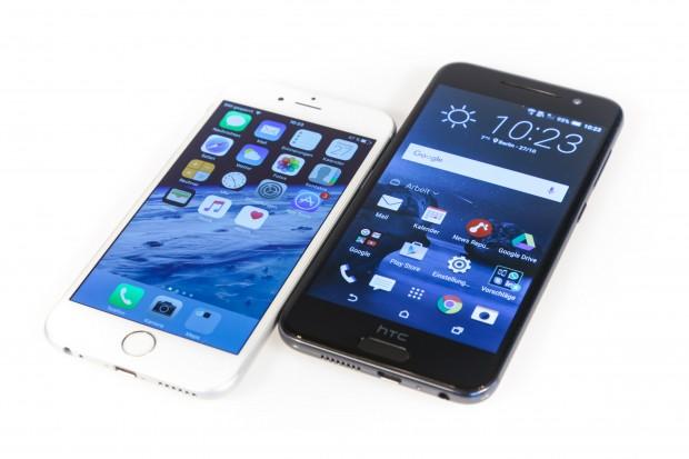 Das iPhone 6 und das HTC One A9 nebeneinander (Bild: Martin Wolf/Golem.de)
