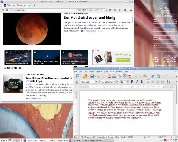 Standardanwendungen auf dem Desktop des in Griechenland entwickelten AntiX-Linux (Screenshot: Erik Bärwaldt)