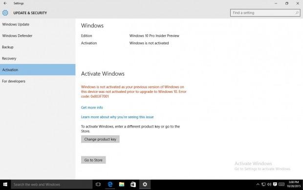 One-Click-Aktivierung eines illegalen Win-10-Upgrades (Bild: Microsoft)