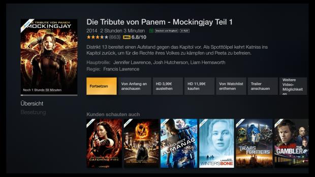 Detailseite eines Films mit Empfehlungen (Screenshot: Golem.de)