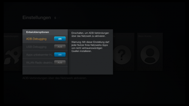 Entwickleroptionen in den Fire-OS-Einstellungen (Screenshot: Golem.de)