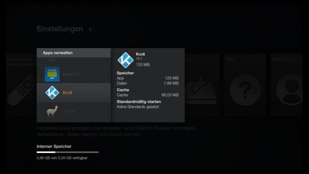 In den Einstellungen findet sich eine Liste aller Apps, einschließlich Kodi. (Screenshot: Golem.de)