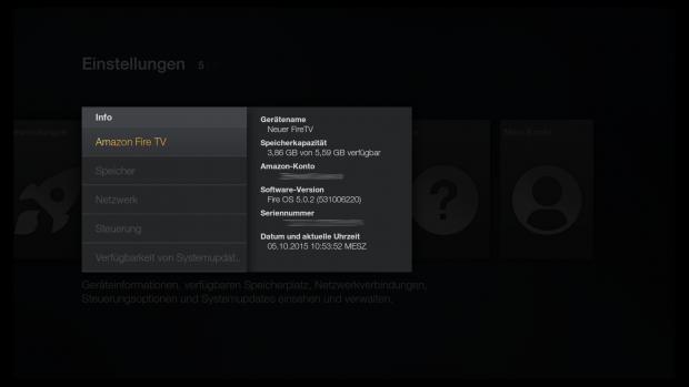 Auf dem neuen Fire TV läuft Fire OS 5.0.2 (Screenshot: Golem.de)