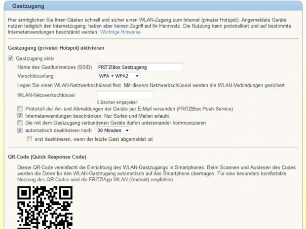 Einen Gastzugang bieten inzwischen wohl alle Heimrouter an. AVM plant für die Fritzboxen auch eine Vorschaltseite. (Screenshots: Golem.de)