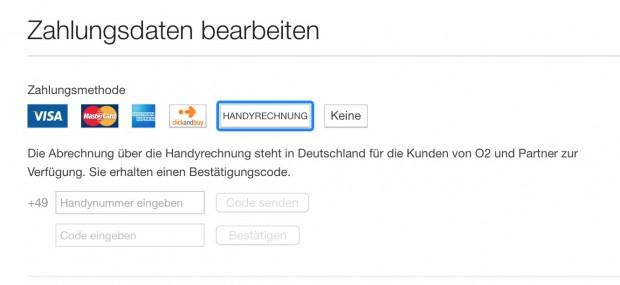 Bezahlen über die Mobilfunkrechnung in iTunes (Screenshot: Golem.de)