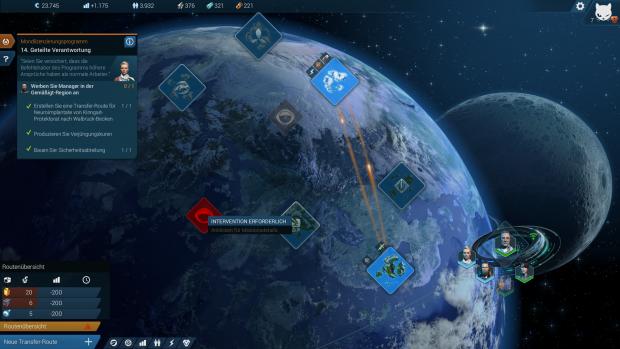 Auf der globalen Übersichtskarte richten wir Handelsrouten ein. (Screenshot: Golem.de)