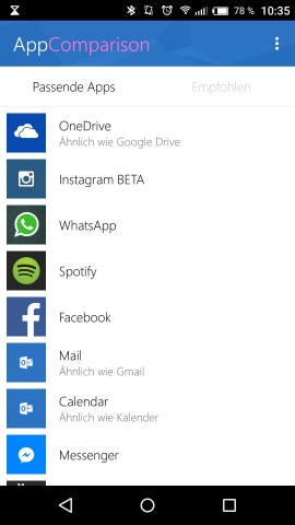 Die Kompatibilitätsliste von App Comparison (Screenshot: Golem.de)