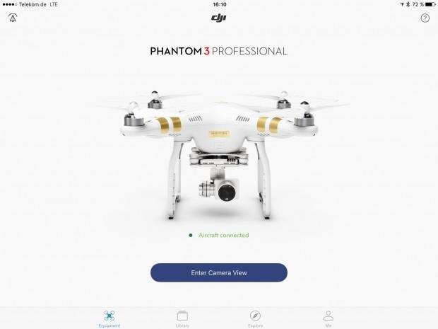DJI-App für die Drohne Phantom III (Screenshot: Golem.de)