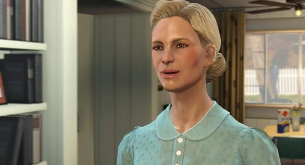 Die Gesichter in Fallout 4 sehen gut aus, Haare und Mimik nicht. (Screenshot: Golem.de)