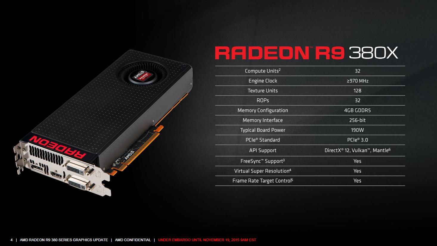 Radeon R9 380X: AMD veröffentlicht endlich einst Apple-exklusive Grafikkarte - Specs der Radeon R9 380X (Bild: AMD)