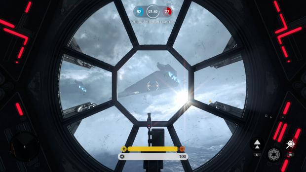 Blick aus dem Cockpit eines TIE Fighter im Flugkampfmodus (Screenshot: Golem.de)