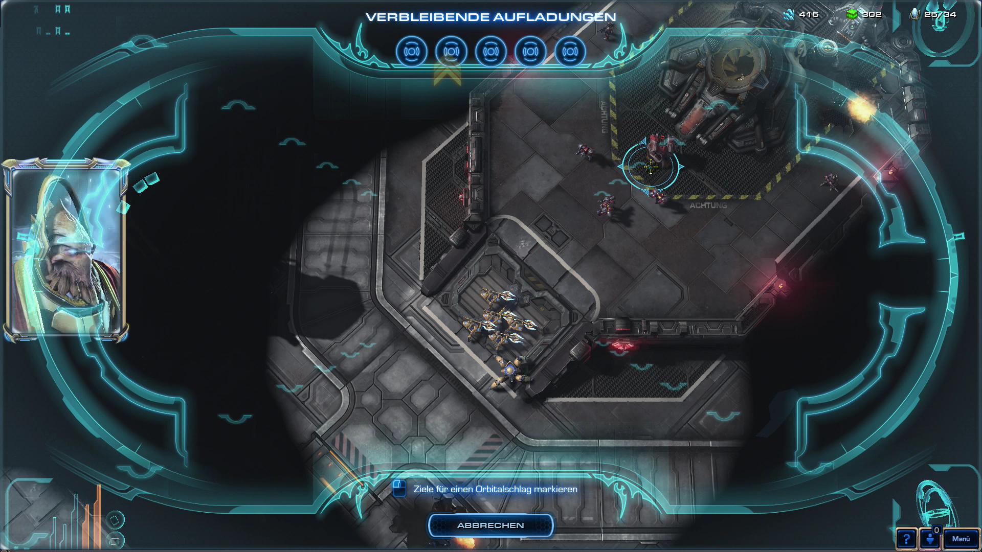 Starcraft 2 3.0 im Test: Grandioses Finale mit den Protoss - Mit einer Orbitalwaffe greift der Spieler seine Feinde an. (Screenshot: Golem.de)