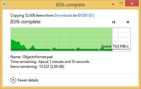 Nach sechs GByte an Daten ist der Pseudo-SLC-Puffer voll, die Schreibrate bricht ein (Screenshot: Marc Sauter/Golem.de)
