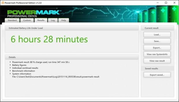Im Productivity-Test hält da SP4 bei 150 cd/m² rund sechseinhalb Stunden durch (Screenshot: Golem.de)
