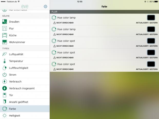 Farbeinstellungen für Hue-Lampen in Elgatos Eve-App (Screenshot: Golem.de)
