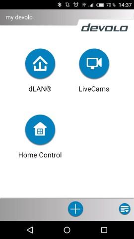 Im Startbildschirm der Devolo-App finden sich neben Home Control auch Informationen zu dLink. (Screenshot: Golem.de)