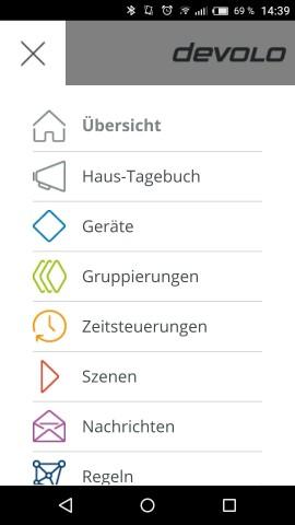 Im Hauptmenü können wir auf weitere Funktionen von Home Control zugreifen, beispielsweise Regeln oder Gruppierungen. (Screenshot: Golem.de)