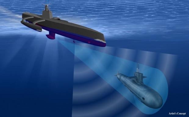 Das Actuv hat nicht-konventionelle Sensoren an Bord, die auch sehr leise U-Boote orten können. (Bild: Darpa)